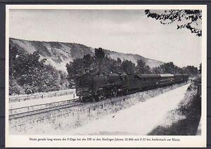 Eisenbahn Motivkarte Dampflok vor Personenzug Andernach am Rhein 50er Jahre