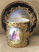 Antique FRENCH SEVRES Style Handpainted Demitasse Teacup Saucer Gold ARTIST SIGN