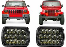 PAIR LED Headlights For 1986-1995 Jeep Wrangler and 1984-2001 Cherokee New USA