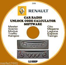 RENAULT AUTO Stereo / Radio codice recupero sblocco Decode CD CLIO KANGOO traffico, ecc.