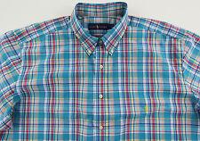Men's RALPH LAUREN Aqua Colors Plaid Shirt 2XB BIG (2XL / 2X BIG) NWT NEW