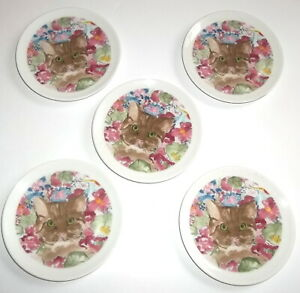 Minou-ettes Set of 5 Cat Kitty Coasters Small Plates Collection Coeur Porcelain