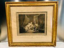"""GRAVURE ANCIENNE datant du XIXe , intitulée """"J'y Passerai"""", jeux de deux amants"""