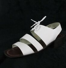 Vintage 90s Minimalist White Leather Lace-Up Ankle Strap Sandals Size 6 M
