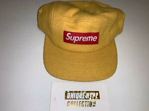 SUPREME 2014 F/W FITTED WOOL KNIT BOX LOGO CAMP CAP HAT M/L GOLD USED PREOWNED