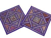 2 Purple Sari India Decorative Sofa Throw Bead Pillows