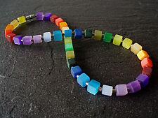 A Sign *Rainbow* Regenbogen 16 FARBEN Frozen Würfel & Edelstahl Halskette/Kette