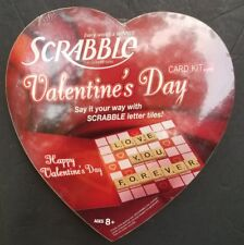 Scrabble Valentine's Day Card Kit & Game DIY Greeting Card 100 wooden tiles