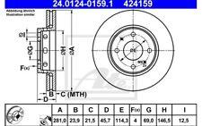 ATE Juego de 2 discos freno Antes 281mm ventilado para VOLVO S40 24.0124-0159.1