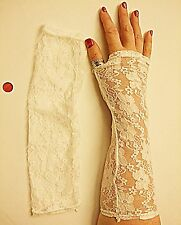 VINTAGE STYLE NET WHITE LACE LONG FINGERLESS GLOVE CLASSICAL WEDDING STEAM PUNK