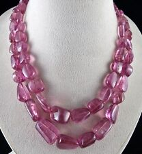 2 LINE 908 CARATS NATURAL PINK TOURMALINE RUBELLITE TUMBLE BEADS LADIES NECKLACE