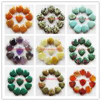 xin66 Beautiful Mixed Stone Heart Pendant Bead 10Pcs