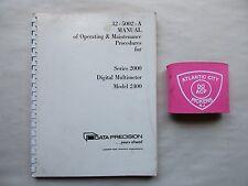 Data Precision Series 2000 Digital Multimeter 2400 Operating & Service Manual