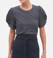 Banana Republic Women's Stripe Twist Sleeve Designer T-Shirt - S & M