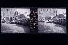 Procession religieuse Italie France ? Plaque de verre stereo NEGATIF 1911