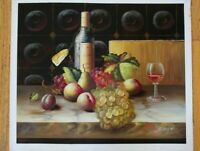 "Wine Bottle Hand Painted High Quality Oil Painting on Canvas 20""x 24"""