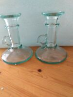 Mid-Century Vintage  Italian Green Glass Handled Candlestick Holders set of 2