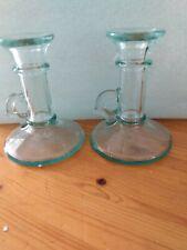 Mid-Century Vintage  Italian Green Glass Handled Candlestick Holders set of 2