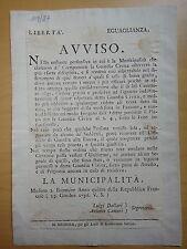 1796-LIBERTA' EGUAGLIANZA-RISPETTO DELLA GUARDIA CIVICA IN MODENA-MILITARIA
