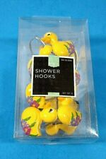12 Yellow Duck Shower Hooks with Flowers New