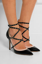 New $995 Valentino Love Latch Black/ Beige Leather Strappy Grommet Pump 37.5/7