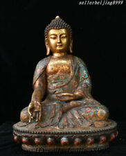 """20"""" Rare China Tibet Buddhism Bronze Cloisonne Amitabha Shakyamuni Buddha Statue"""