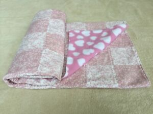 Quilted baby blanket/bedspread/play mat cot size pink/white floral/hearts print