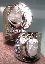 925 silver chunky double stone rough rainbow moonstone ring UK P/US 7.75 -8