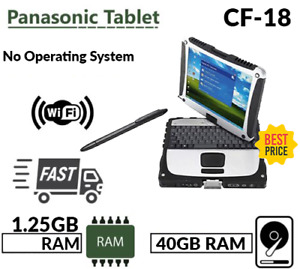 PANASONIC TOUGHBOOK CF-18 FULL RUGGED 1.25GB 40GB BLUETOOH SWIVEL SCREEN NO OS