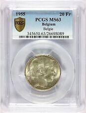 1955 Belgium 20 Francs Belgie Silver Coin - PCGS MS 63 - KM# 141.1 - TOP POP 1