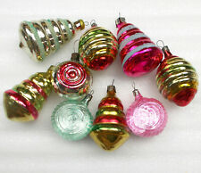 9 Antique Old Vintage Silver Glass Christmas Ornaments Xmas Tree Decorations