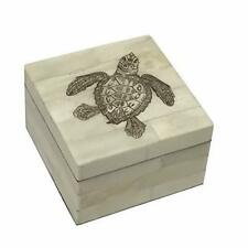Sea Turtle Scrimshaw Bone Trinket or Jewelry Box Antique Reproduction Engraved