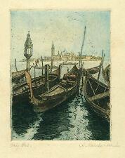 Alice Reischer-Katscher Engraving Hand Colored Etching Docked Gondola Boats Art