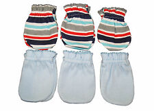 6 Pairs Cotton Baby/infant Anti-scratch Mittens Gloves - Special Stria + Blue