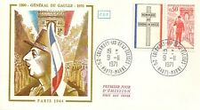 LETTRE PREMIER JOUR GENERAL DE GAULLE PARIS 1944 COLOMBEY LES DEUX EGLISES 1971