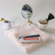 Waschset toalla pasta de dientes cepillo de dientes espejo zahnputzbecher muñecas Tube 1:12