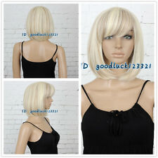 30cm Short Straight BOB Fashion Blonde Mixed Color Women Full Hair Wig