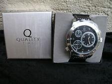 "Quality Time Herrenuhr ""Dual Time"" Herrenarmband-Uhr (Farbe: schwarz) Neu & OVP"