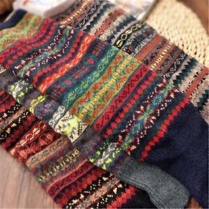 Women Boho Leg Warmer Socks Winter High Knee Crochet Knitted Long Warm Stocking