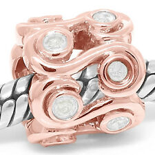 San Paul 0.24ct Diamond 9ct 9K 375 Solid Rose Gold Bead Charm FIT EURO BRACELETS