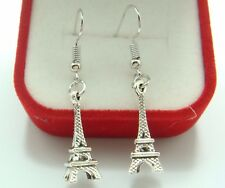 925 Silver Plated Hook - 1.8'' Vintage Eiffel Tower Women Cocktail Earring dcg6