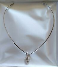 STERLING SILVER CHOKER NECKLACE WITH GENUINE CRYSTAL PENDANT 7