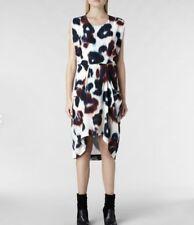 ALL SAINTS Womens ECHO ZOE ITALIAN SILK DRESS Hand Painted Animal Print UK6/US2
