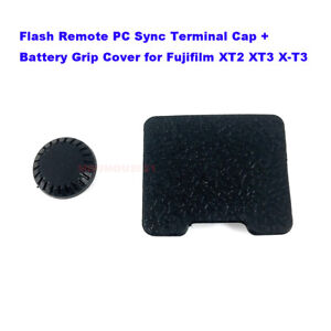 Remote Flash PC Sync Cover + Battery Grip Connector Cap for Fuji X-T2 X-T3 XT2