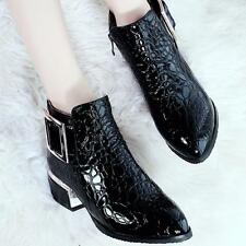 Chic Womens Patent Leather Point Toe Block Heel Buckle Ankle Boots Shoes Pattern