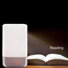 LED Light Alarm Clock Bedside Reading Schreibtisch Tischlampe Buch Licht de
