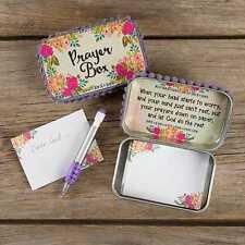 NATURAL LIFE PRAYER BOX PINK ROSES FAITH INSPIRATION NOTES TIN BOX RELIGIOUS GOD