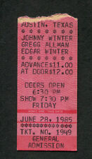 1985 Johnny Winter Gregg Allman Edgar Winter Concert Ticket Stub Austin Texas
