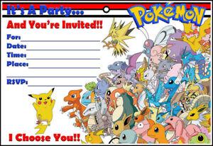 Pokemon Party Invitations Plus FREE Envelopes