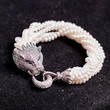 Bracelet Six Rang Mini Perle de Culture d`Eau Douce Léopard Argent 925 Class A15